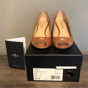 Tan brown Coach wedge open toe shoes
